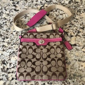Coach Crossbody with Pink Leather Detail